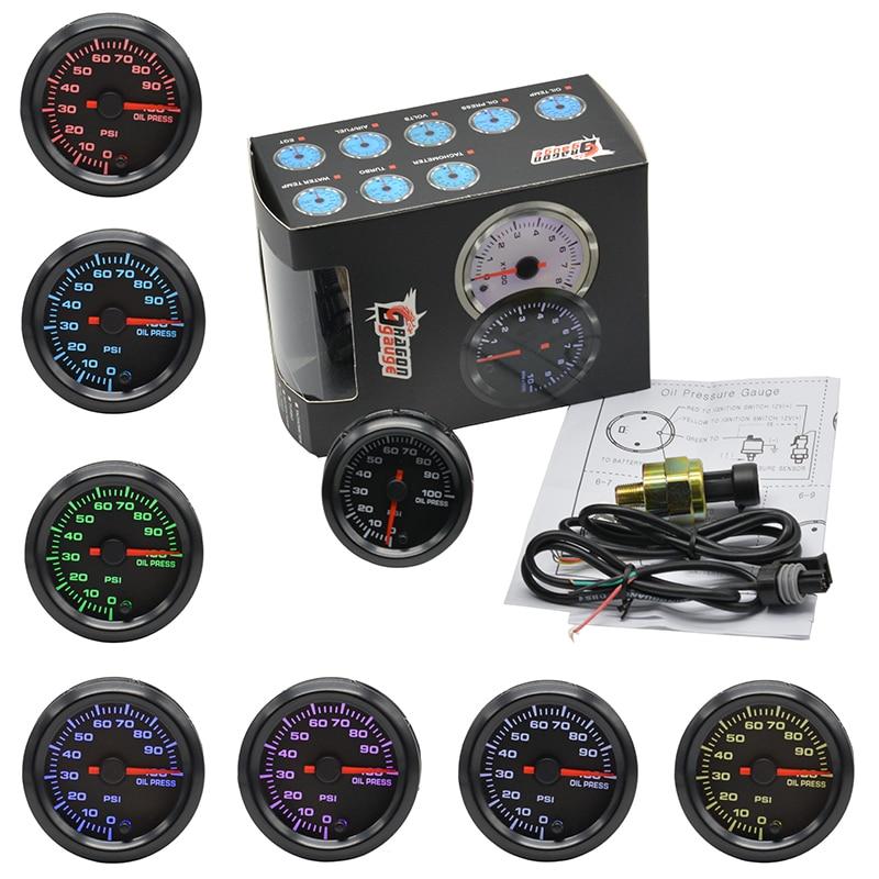 Dragon gauge 2 52mm High Speed Stepper Motor 7 Colors Backlight Auto Car Oil Pressure Gauge Car Oil press Meter Free shipping