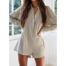 2019 Summer Women Cotton Linen Jumpsuits V-neck Buttons Short Long Sleeve Loose Rompers