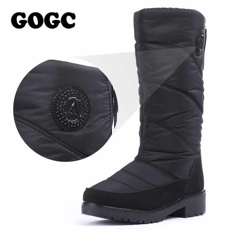 GOGC sıcak kadın kış ayakkabı diz yüksek çizmeler artı boyutu kürk kışlık botlar kadın moda kar botları yeni marka kadın ayakkabı 9831