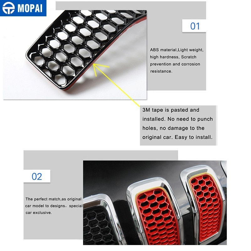 Image 4 - MOPAI Car Sticker for Jeep Cherokee 2014 2018 Car Front Mesh Grille Decoration Grid Guard Inserts Molding Cover Car Accessories-in Car Stickers from Automobiles & Motorcycles