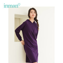 INMAN Winter New Arrival Retro Literary Embroidery Loose Lazy Style Woman Wool Dress(China)