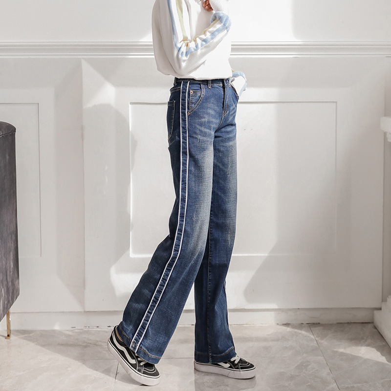 Stretch Korean Vintage Women Straight Jeans Washed 2019 Spring High Waist Side Stripe Design Ripped Loose Ladies Wide Leg Pants