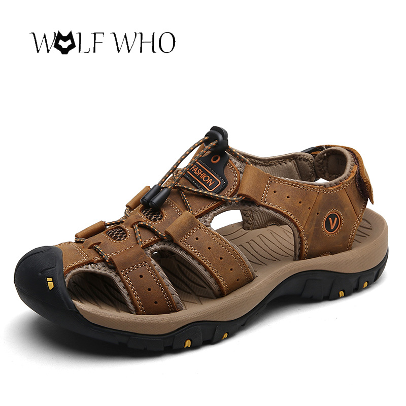 Men Sandals Sneakers Beach-Slippers Genuine-Leather Casual Cowhide Outdoor Summer Wolf