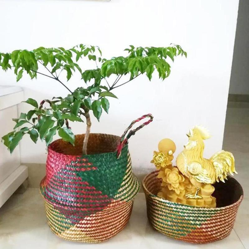 Garden Supplies Garden Pots & Planters Kind-Hearted Basket Pot Planter Organization Storage Basket Rattan Straw Basket Wicker Seagrasss Folding Flower Pot Flower Vase Home Storage Factories And Mines