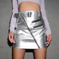 Women Sexy Mini Skirt PU Leather High Waist Belt Buckle Zipper Silver Metallic Short Skirts Streetwear Hipsters Club Grunge Tide