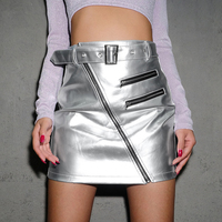 Women Sexy Mini Skirt PU Leather High Waist Belt Buckle Zipper Silver Metallic Short Skirts Streetwear Hipsters Club Grunge Tide