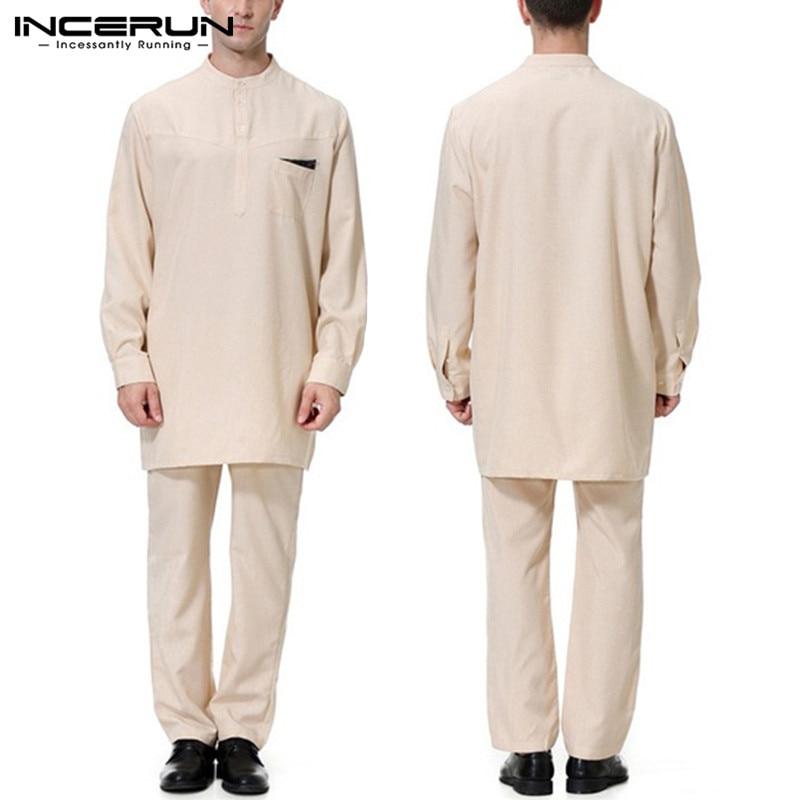 Fashion Arab Jubba Thobe Suit Kaftan Muslim Arab Muslim Clothing Set Islamic Abaya Shirt Pants Robes Middle East Turkish Clothes