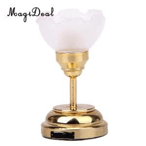Image 5 - 3 adet/paket 1:12 bebek evi minyatür LED masa lambası tavan lamba pili işletilen plastik ışık yatak odası dekoru aksesuarları oyuncak