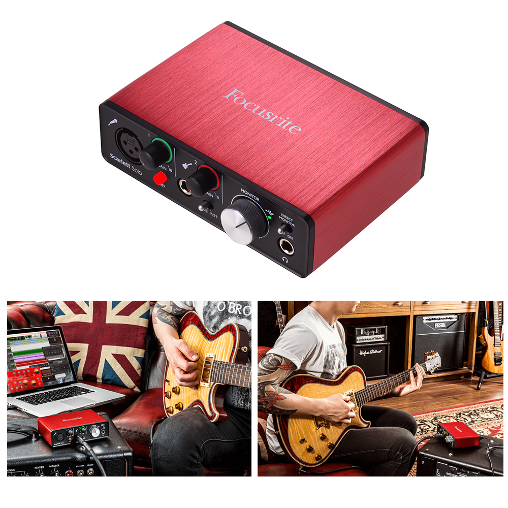 US $115 75 37% OFF|Focusrite Scarlett Solo 2nd Generation USB Audio  Interface Sound Card 24bit/192kHz with XLR & 6 35mm Inputs RCA & 6 35mm  Outputs-in