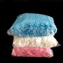 100 шт Двойная лента Нетканые одноразовые шапочки для душа плиссированные Анти-пыль шляпа для женщин и мужчин для ванны для спа-салона Аксессуары для красоты