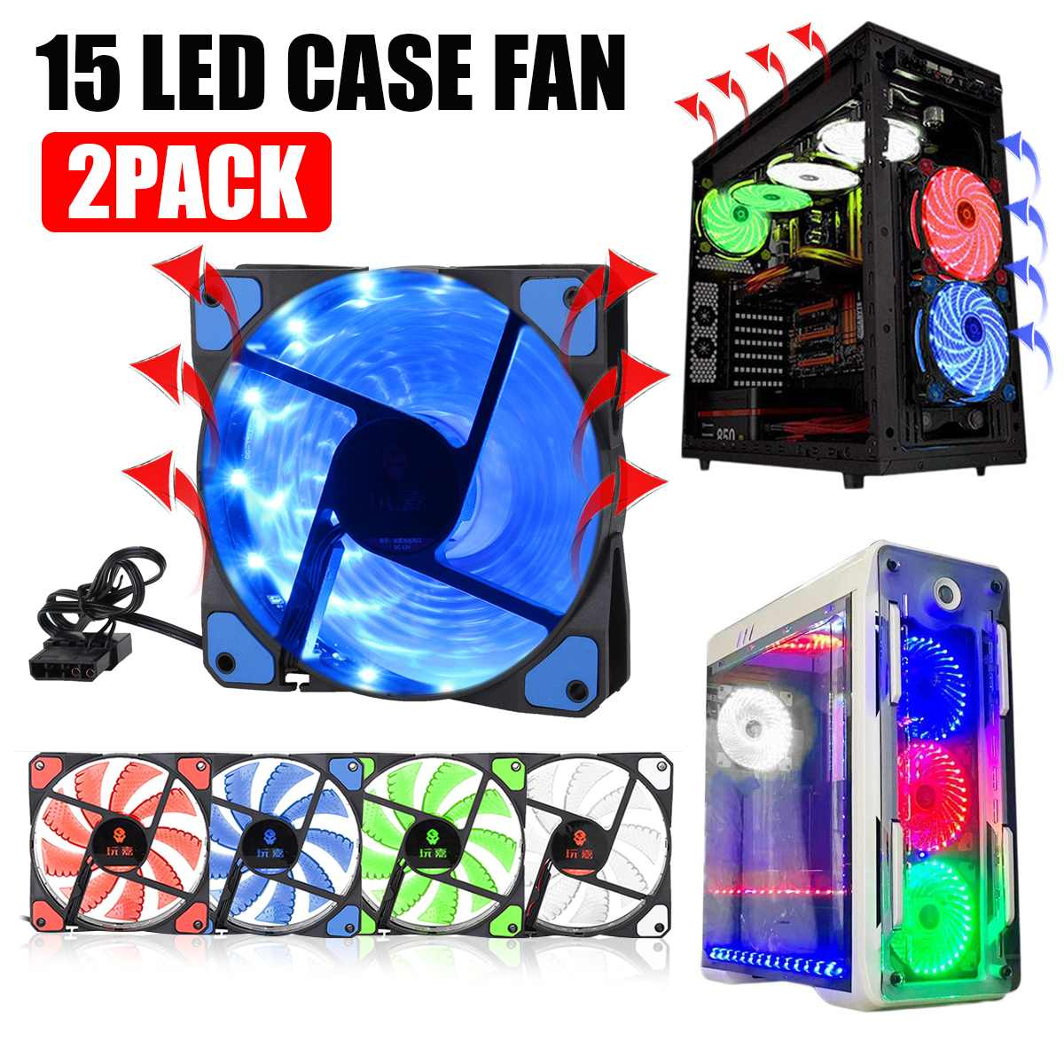 4 Color 120mm 15LED Light Neon PC Computer Case CPU Cooling Fan Mod Cooler 3 & 4Pin 12V 1500RPM Air Cooling image