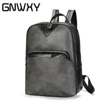 Retro Casual Business Travel Laptop Backpack For Men Soft Surface PU Leather Fashion High School Student Computer Bag Waterproof