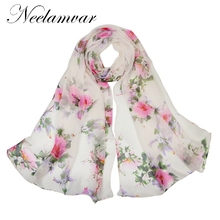 Neelamvar New Women silky Scarves  Elegant Floral Printed Women Scarf  Chinese style Designer Flowers oblong shawls недорого