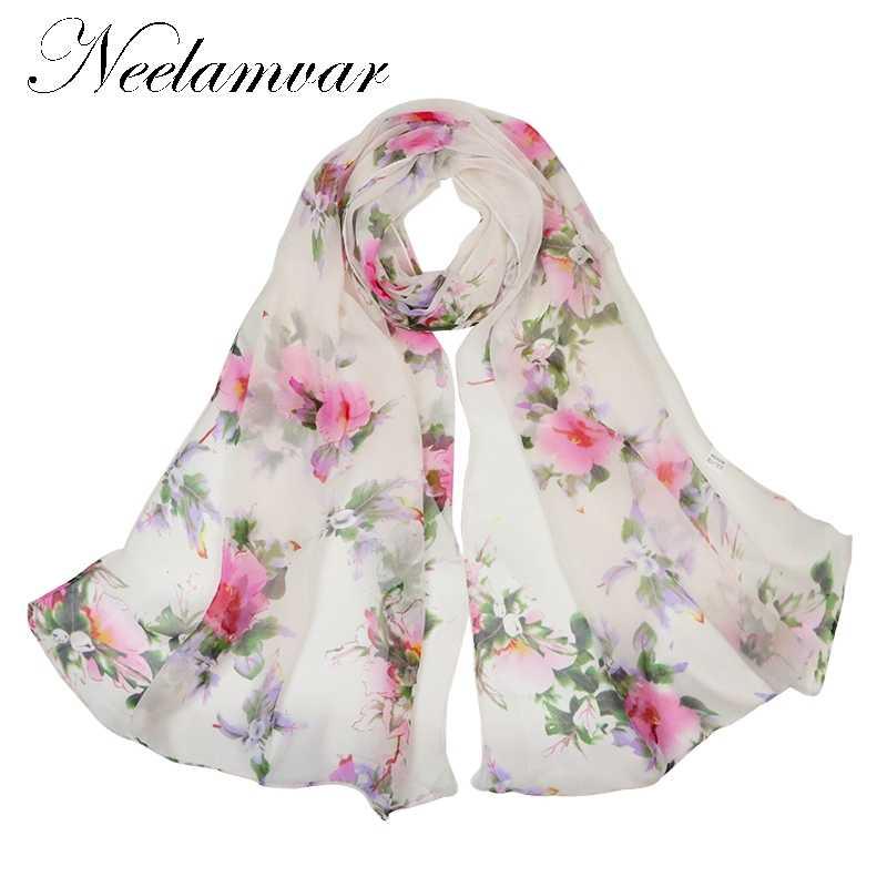 168b8d707b5e5 Neelamvar New Women silky Scarves Elegant Floral Printed Women Scarf  Chinese style Designer Flowers oblong shawls