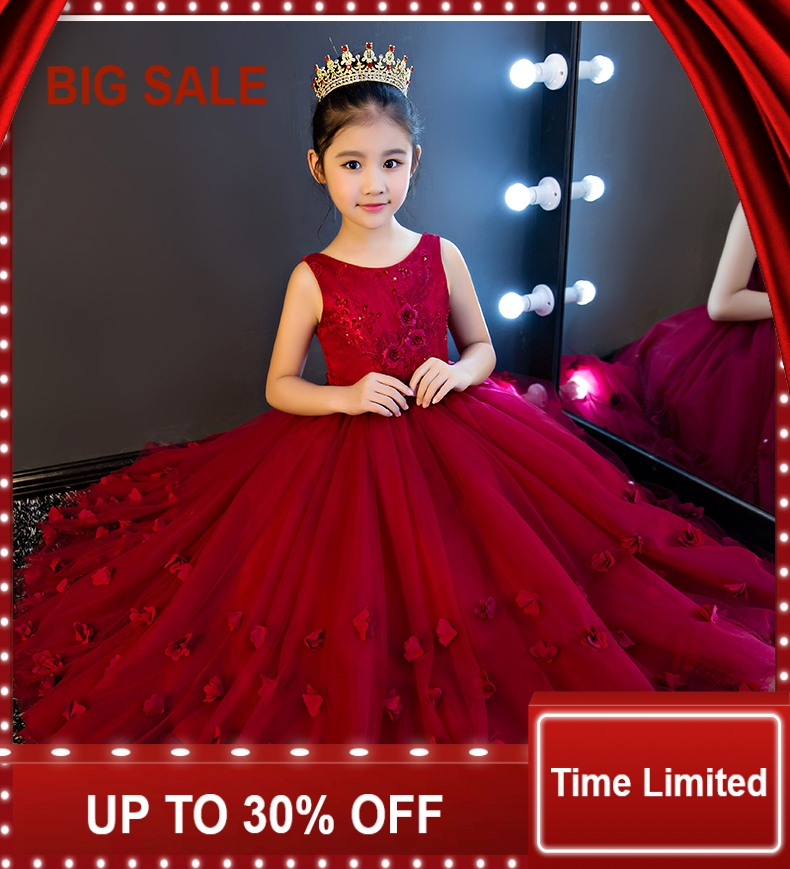 Red Lace Flower Girl Dresses Sleevesless  Bead Applique first Communion Dresses For Girls Pageant Wedding Dresses PrincessRed Lace Flower Girl Dresses Sleevesless  Bead Applique first Communion Dresses For Girls Pageant Wedding Dresses Princess
