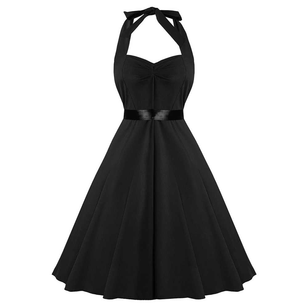 Joineles Fit dan Flare Halter Gaun Vintage Wanita High Waist Sexy Backless Wanita Pesta Ruched Slim Aline Rockabilly Dress