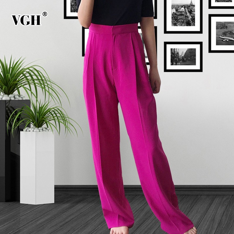 VGH Spring Women   Pants   High Waist Loose Slim Pockets Pleated Female Trouser For Women's   Wide     Leg     Pant   2019 Fashion Korean New