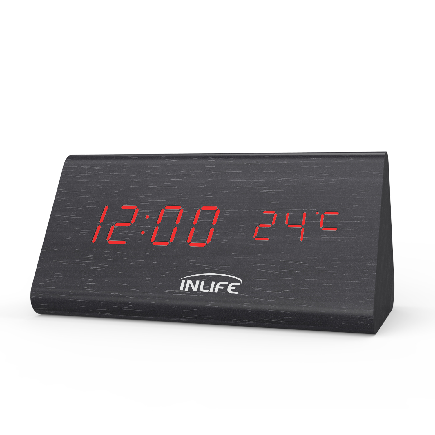 Inlife VST - 861 LED Wooden Digital Alarm Clock Display With Date Time Temperature 12/24 Hour Voice Control image
