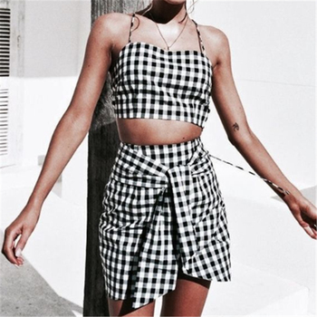 Fashion Women Plaid Print 2 Piece Set Bodycon Skirt Crop Top off shoulder Tank Summer two piece set Bandage gingham Mini Skirt tights