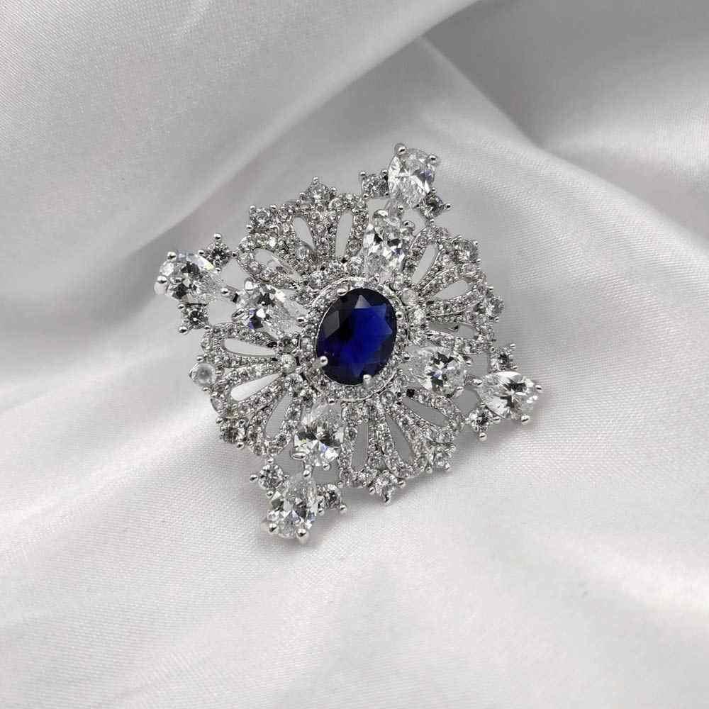 Royal Vintage Loop Pita Oval Cut Batu Biru Square Bros Perak Nada Buka Micro Pave Bening CZ Gaya Art Deco Pin putri Game Perhiasan