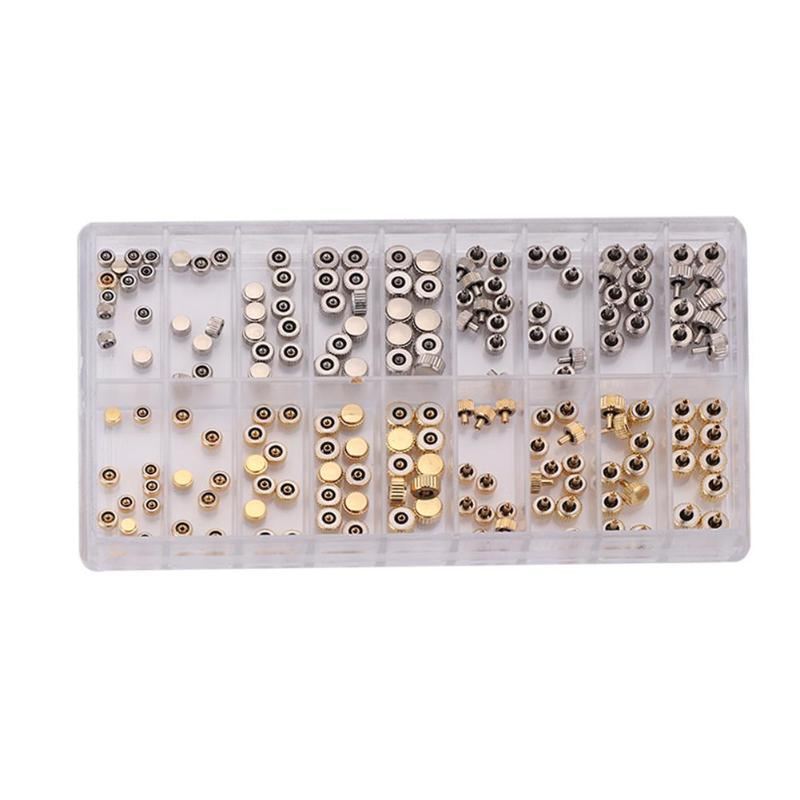 140pcs Watch Crown Parts Replacement Assorted Dome Flat Head Watch
