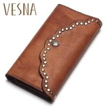 TAUREN cartera de mano de piel auténtica para mujer, con pincel Pochette, clavo de anclaje, diseño largo, monedero de bolsillo para teléfono móvil