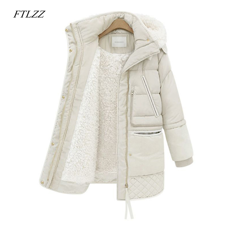 FTLZZ 2019 Winter Women's Jackets Cotton Coat Padded Long Slim Hooded   Parkas   Female Plus Size Warm Wool Jacket Outwear Clothing