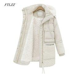 FTLZZ 2019 Winter Women's Jackets Cotton Coat Padded Long Slim Hooded Parkas Female Plus Size Warm Wool Jacket Outwear Clothing