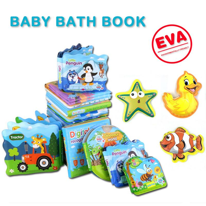MINOCOOL Funny Baby Bathing Book Cartoon Cloth Book Tear-resistant Built-in BB Tarpaulin Toys for Children Kids Can Make Sound