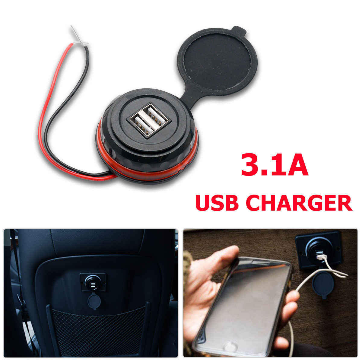 12V Dual USB Car Charger Waterproof 2 Port Adapter Power Socket Charging Panel Mount for Vehicle Boat Truck Motorcycle