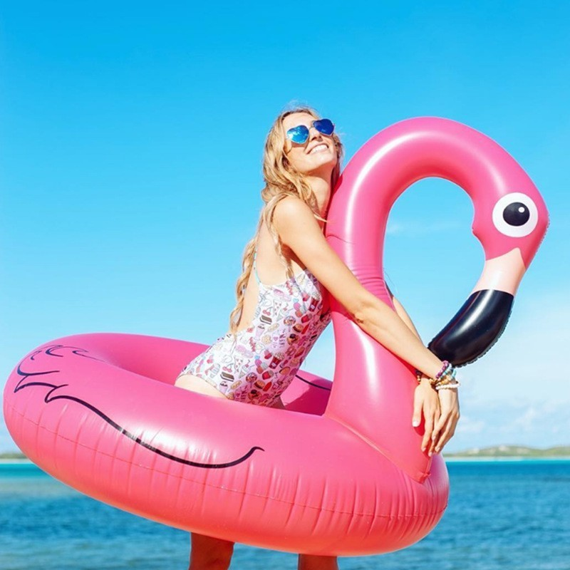 Pink Inflatable Flamingo Pool Floats Swimming Rings Floating Row Chair Beach Air Mattress For Swimming Water Sports Pool Party