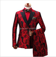 Costume Homme 2019 New Doublue Breasted Suit Men Terno Masculino Men Suits Tuxedo Prom Party Suits Floral Wedding Groom Suit