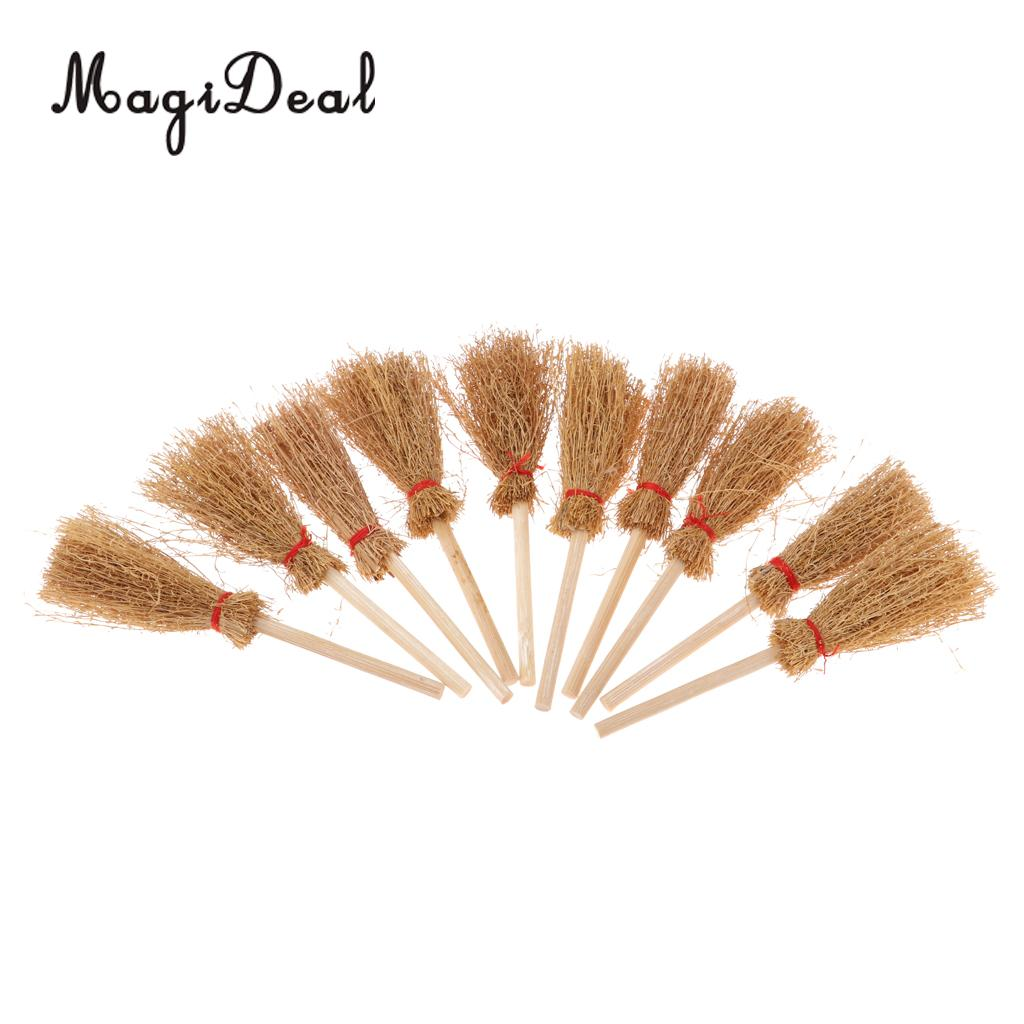 1/12 Doll House Decoration Accessories Mini Bamboo Broom Model Dollhouse Miniature Cleaning Tools Kit Pretend Play Toy 10 Pieces
