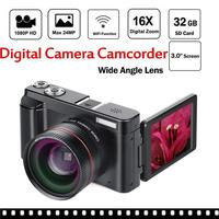 Digital Camera Video Camcorder Full HD 1080P 24.0MP Vlogging Camera With Wide Angle Lens And 32GB SD Card Flash Light