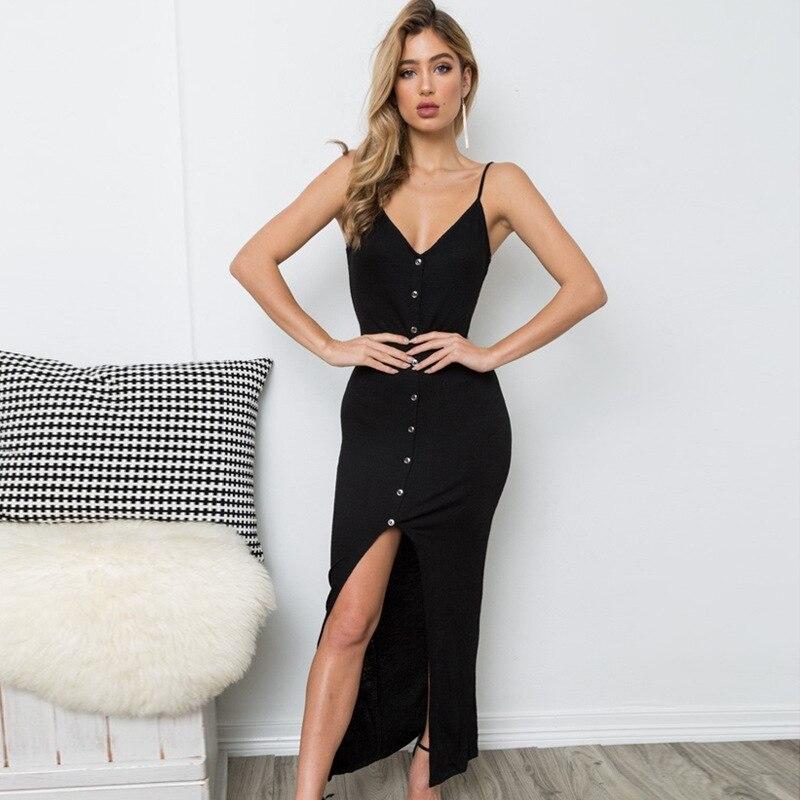 Long Summer Dress Boho Asymmetric Spaghetti Strap Bodycon Dress V Neck Sleeveless Cotton Vestidos Solid Robe Femme 2019-in Dresses from Women's Clothing on AliExpress - 11.11_Double 11_Singles' Day 1