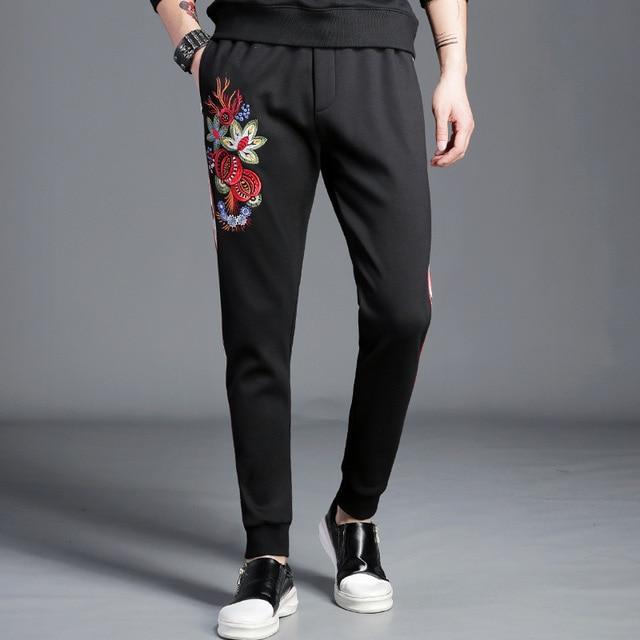 #1825 Black Sweatpants Side Stripe Embroidery Floral Mens Sweatpants Joggers Pants Plus Size 4XL 5XL Streetwear Track Pants Man