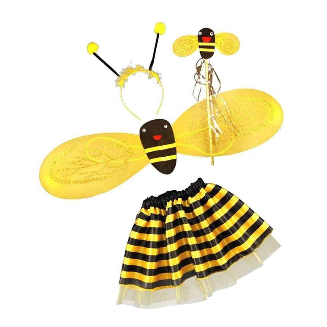 4Pc Bumble miód pszczeli dziewczyny dzieci bajki Halloween przebranie kostium imprezowy