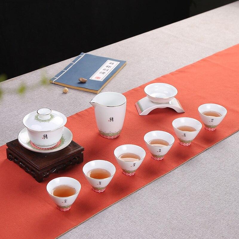 Tè Dehua Porcellana Bianca Traccia UN Disegno In Oro Tè Insieme del Vestito Piccolo Fresco Concise 6 Tazza di Lavorare In un Ufficio Per La Casa Tea Set - 2