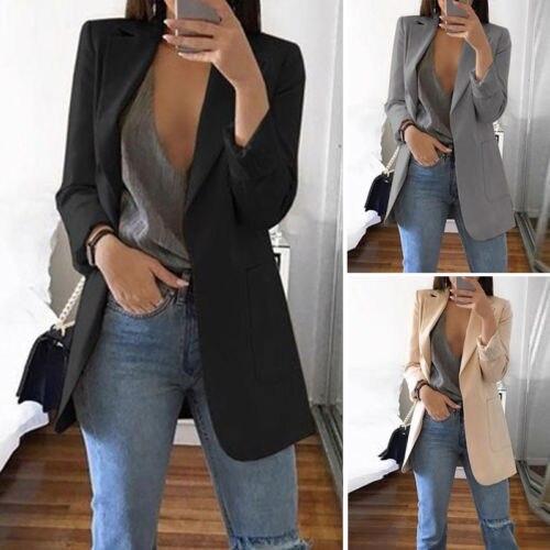 Fashion Lapel Notched Slim Cardigan Outdoor Blazer Women Casual OL Blazers Coat Ladies Solid Long Sleeve