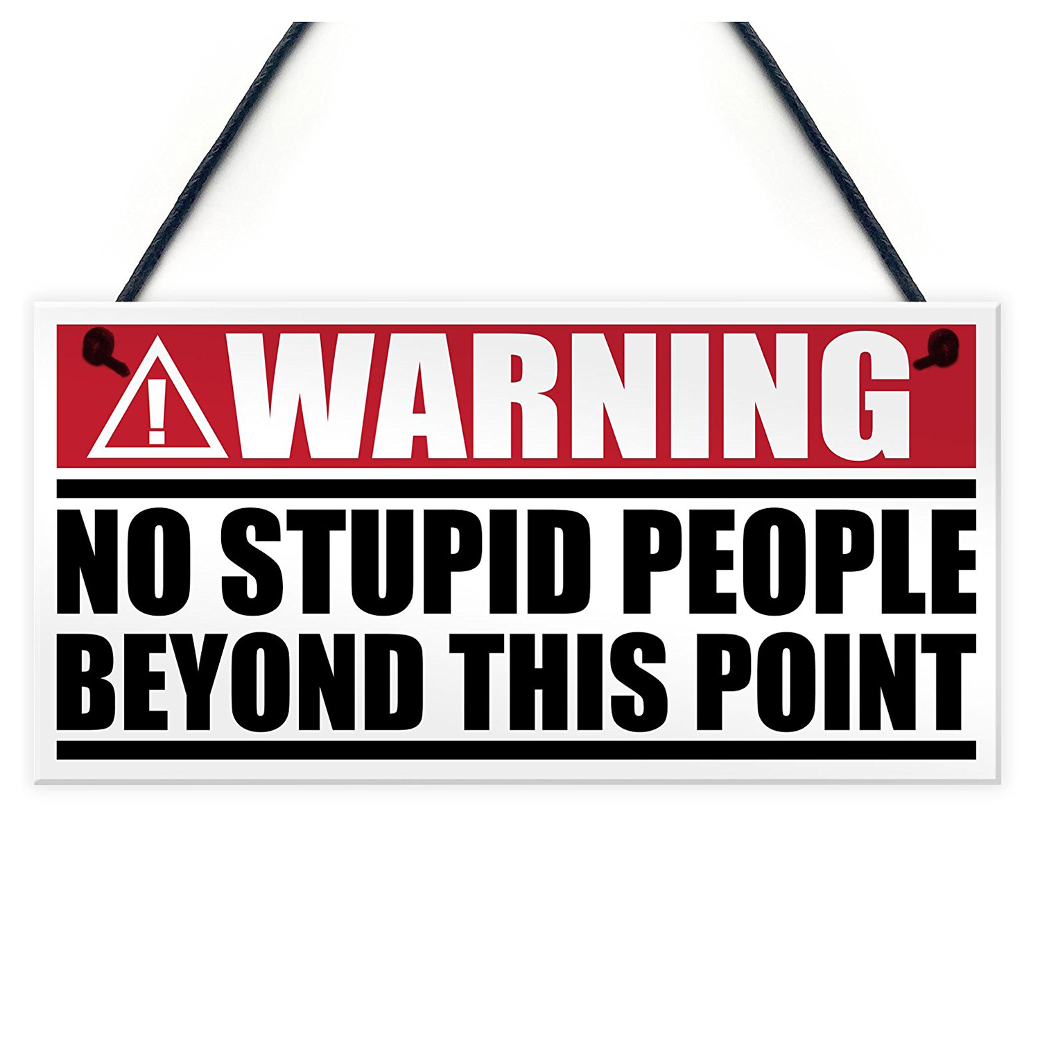 """METAL SIGN WALL DOOR /""""WARNING NO STUPID PEOPLE BEYOND THIS POINT/"""" VINTAGE STYLE"""