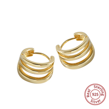 New Arrival 925 Silver Multi-layer Hoop Earrings Gold color For Women Small Hollow Round Circle Earring Jewelry gift zk40