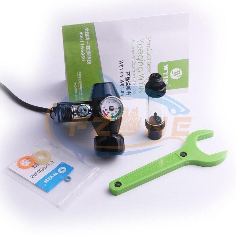 Chihiros acuario Wyin Mini sola calibre CO2 regulador con válvula de contador de burbujas de válvula de solenoide y Kits de instalación - 6