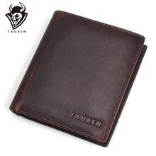 TAUREN New Mens Genuine Leather Wallet Vintage Crazy Horse Man Multi-Functional Cowhide Coin Purse