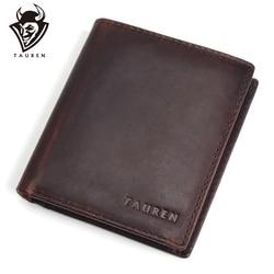 TAUREN Men Wallets Vintage Crazy Horse Genuine Leather Zipper Wallet <font><b>Card</b></font> Holder Coin Pocket Men's Purse Male Carteira