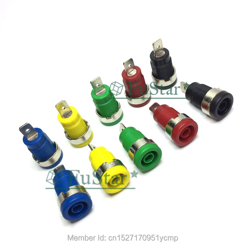 10Pcs Insulated Safety 4mm Banana Female Jack Panel Mount Socket Binding Post Connector