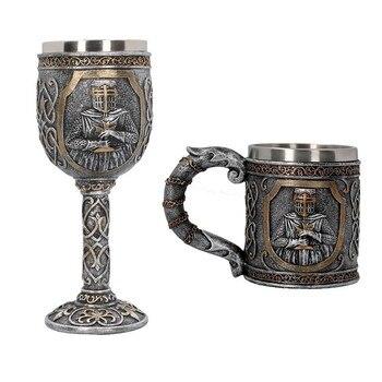 Juego de tronos y espada con calaveras en 3D, taza Medieval de acero inoxidable para té, cerveza, copa, Bar, Club, copas de vino