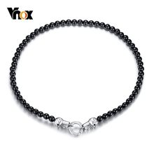 "Vnox Rock Punk Skull Charm Choker Necklaces for Men 8MM Black Carnelian Beads Male Collar 24""(China)"