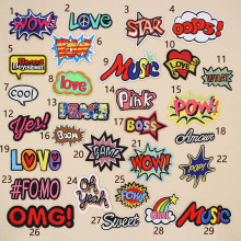 Letter Words Embroidered Patches for Clothing DIY Stripes Applique Clothes Stickers Iron on Badges POW Parches