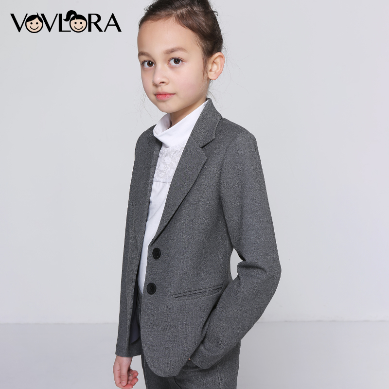 Girls School Jacket V Neck Formal Single Button Kids Blazer Long Sleeve Solid Coats Summer 2018 Size 7 8 9 10 11 12 13 14 Years sleeveless v neck 2018 dress school a line knitted solid kids dress girls school clothes new arrival size 9 10 11 12 13 14 years
