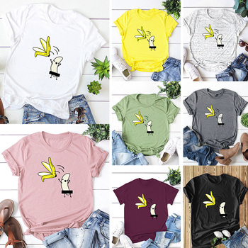 Casual Cotton Funny T-Shirt Women Naked Banana Cartoon Print Short Sleeve O-Neck T Shirt Women Cute Tee Shirt Femme Summer Tops 5